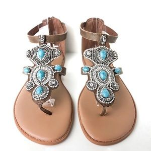 Torrid Jewel Turquoise Rhinestone T Strap Sandals